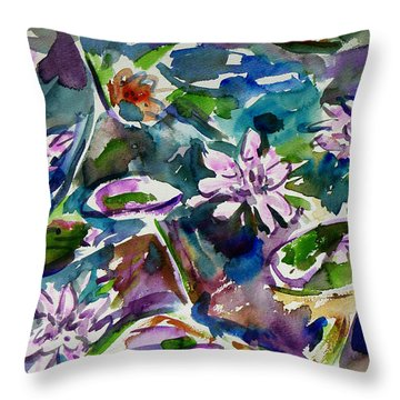 Summer Lily Pond Throw Pillow by Xueling Zou