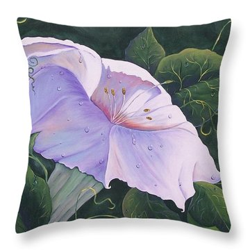 Throw Pillow featuring the painting Morning Glory  by Sharon Duguay
