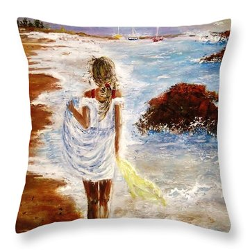 Throw Pillow featuring the painting Summer Memories by Cristina Mihailescu
