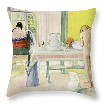 Summer Morning Pub In Lasst Licht Hinin Let In More Light Throw Pillow by Carl Larsson