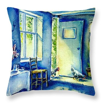 Throw Pillow featuring the painting Summer Morning Visitors  by Trudi Doyle