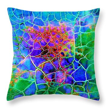 Throw Pillow featuring the painting Summer Mosiac II by Carolyn Repka