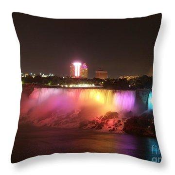 Summer Night In Niagara Falls Throw Pillow by Lingfai Leung