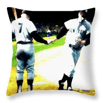 Summer Of The Gods  Iv 1961 Mickey Mantle Throw Pillow by Iconic Images Art Gallery David Pucciarelli