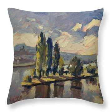 Throw Pillow featuring the painting Summer On Robinson Island by Nop Briex