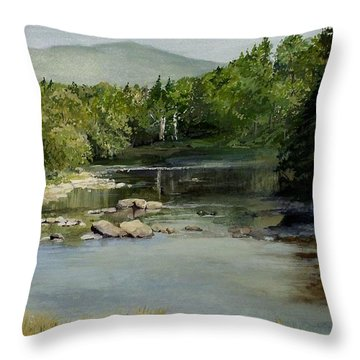 Throw Pillow featuring the painting Summer On The River In Vermont by Laurie Rohner