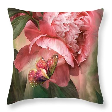 Summer Peony - Melon Throw Pillow by Carol Cavalaris