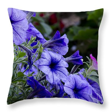 Summer Petunias Throw Pillow by Wilma  Birdwell