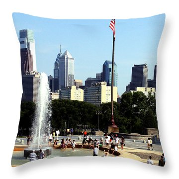 Summer Philly Skyline Throw Pillow