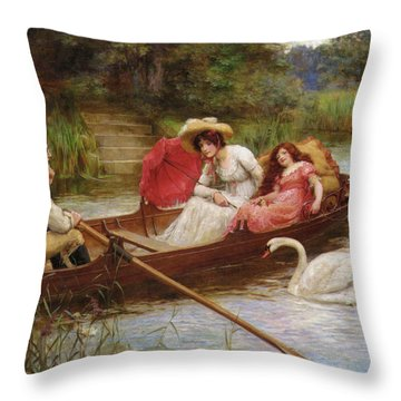 Summer Pleasures On The River Throw Pillow by George Sheridan Knowles