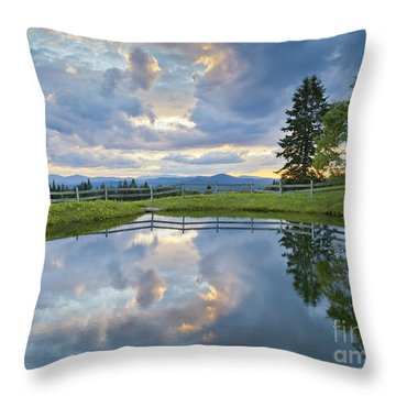 Summer Pond Reflection Throw Pillow