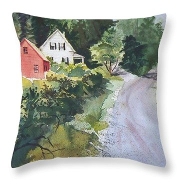 Throw Pillow featuring the painting Summer Road by Joy Nichols
