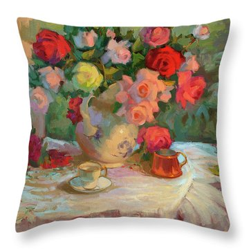 Summer Roses Throw Pillow