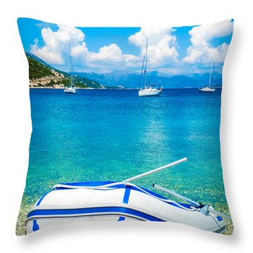 Summer Sailing In The Med Throw Pillow by Peta Thames