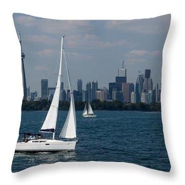 Summer Sailing Postcard From Toronto Throw Pillow