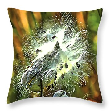 Summer Seeds - Milkweed Throw Pillow