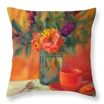 Summer Song- Orange Roses And Butterfly Bush Blooms Throw Pillow