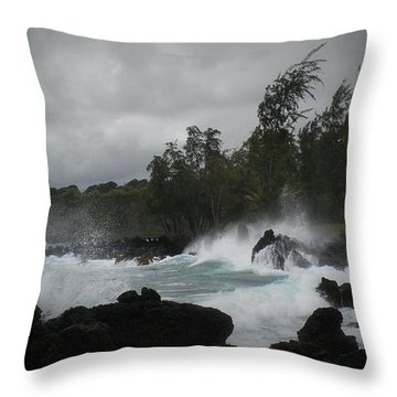 Summer Storm Hana Bay Hawaii Throw Pillow