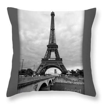 Summer Storm Over The Eiffel Tower Throw Pillow