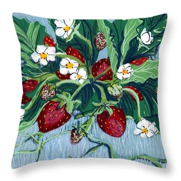 Summer Strawberries Throw Pillow