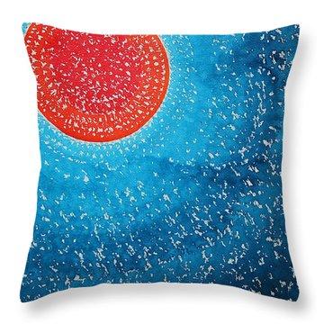 Summer Sun Original Painting Throw Pillow by Sol Luckman