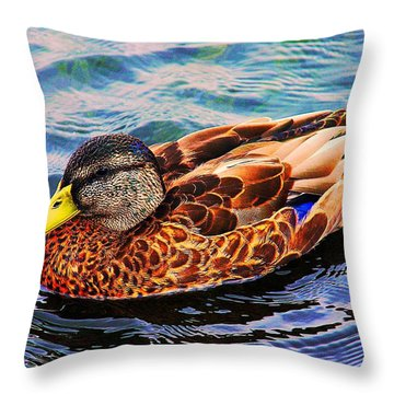 Throw Pillow featuring the photograph Summer Swim by Denyse Duhaime