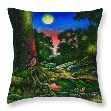 Summer Twilight In The Forest Throw Pillow