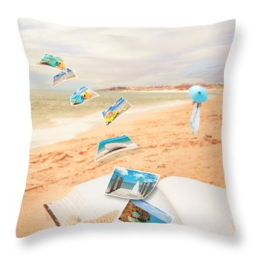 Summer Vacation Postcards Throw Pillow by Amanda Elwell