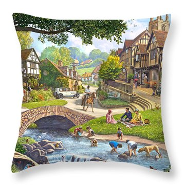 Summer Village Stream 2015 Throw Pillow