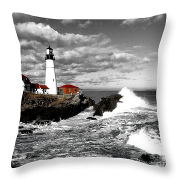 Summer Waves Red Stroke Bw Throw Pillow