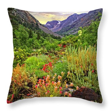 Summer Wildflowers In Lundy Canyon Throw Pillow