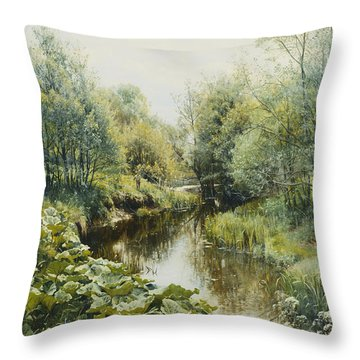Summerday At The Stream Throw Pillow by Peder Monsted
