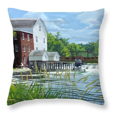 Summertime At The Old Mill Throw Pillow