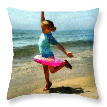 Summertime Girl Throw Pillow