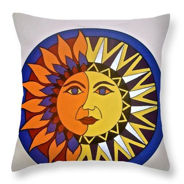Sun And Moon Throw Pillow by Stephanie Moore