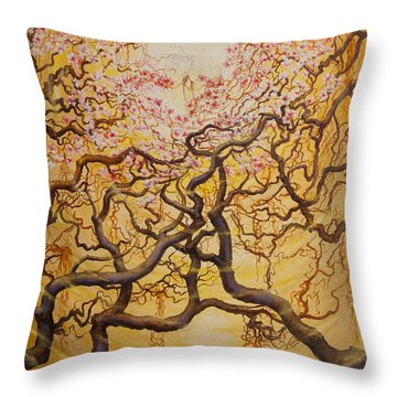 Sun And Sakura Throw Pillow
