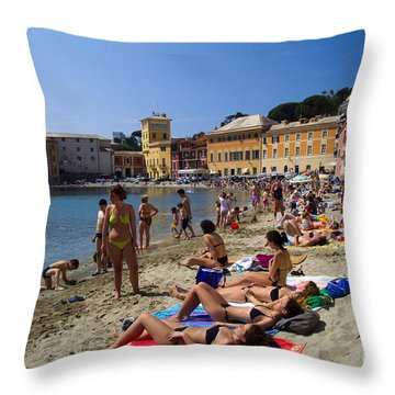 Sun Bathers In Sestri Levante In The Italian Riviera In Liguria Italy Throw Pillow by David Smith