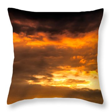 Sun Beams And Clouds Throw Pillow by Optical Playground By MP Ray