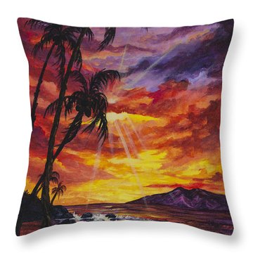 Throw Pillow featuring the painting Sun Burst by Darice Machel McGuire