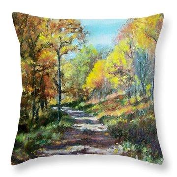 Sun Dappled Path Throw Pillow