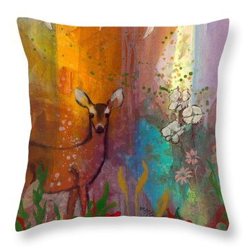 Sun Deer Throw Pillow