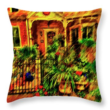 Throw Pillow featuring the painting Sun Dial House by Ted Azriel