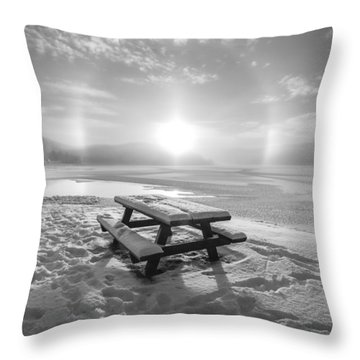 Throw Pillow featuring the photograph Sun Dog Bw by Rose-Maries Pictures