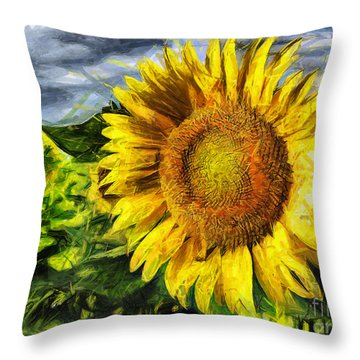 Sunflower Drawing  Throw Pillow