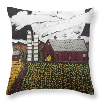 Sun Flower Farm Throw Pillow