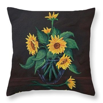Throw Pillow featuring the painting Sun Flowers  by Sharon Duguay