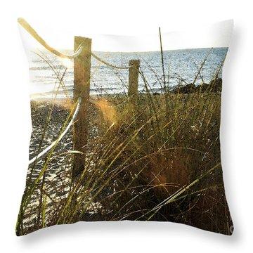 Sun Glared Grassy Beach Posts Throw Pillow