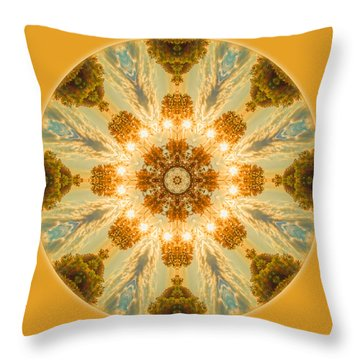 Sun Glow Mandala Throw Pillow