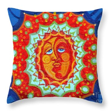 Sun God Throw Pillow by Genevieve Esson
