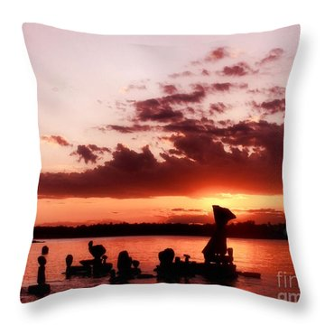 Throw Pillow featuring the photograph Sun Going Down by Heather King